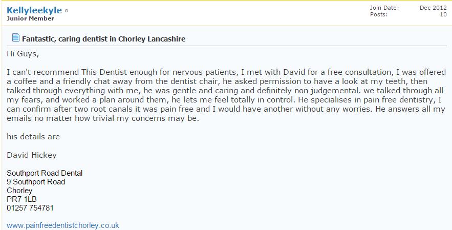 Fantastic, caring dentist in Chorley Lancashire.